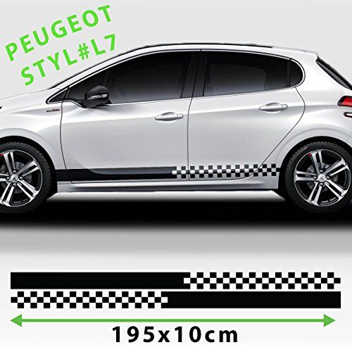 Sport racing stripes logo stickers decal for any peugeot graphics chessboard black