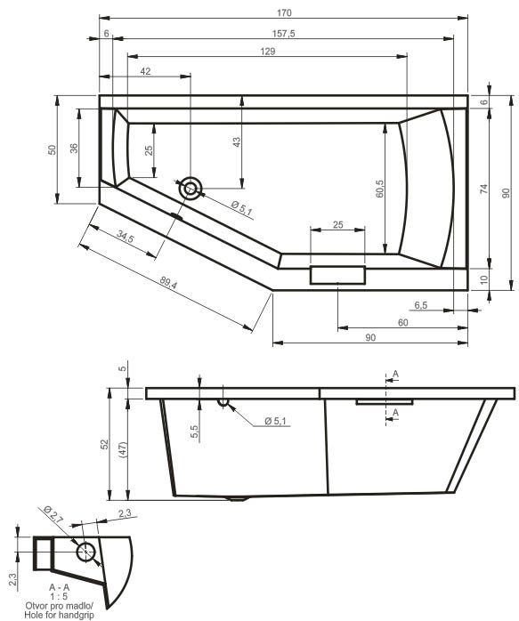 Fürdőkád RIHO GETA BAL, BA89 | RIHO