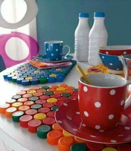 #Table-mat made with #bottle #caps   #eco-hostel #recycle #up-cycle #table-mat #deco #reuse #bottle #PET #tap