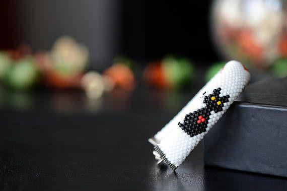 Beaded bracelet Black Cat in love  Bead Crochet