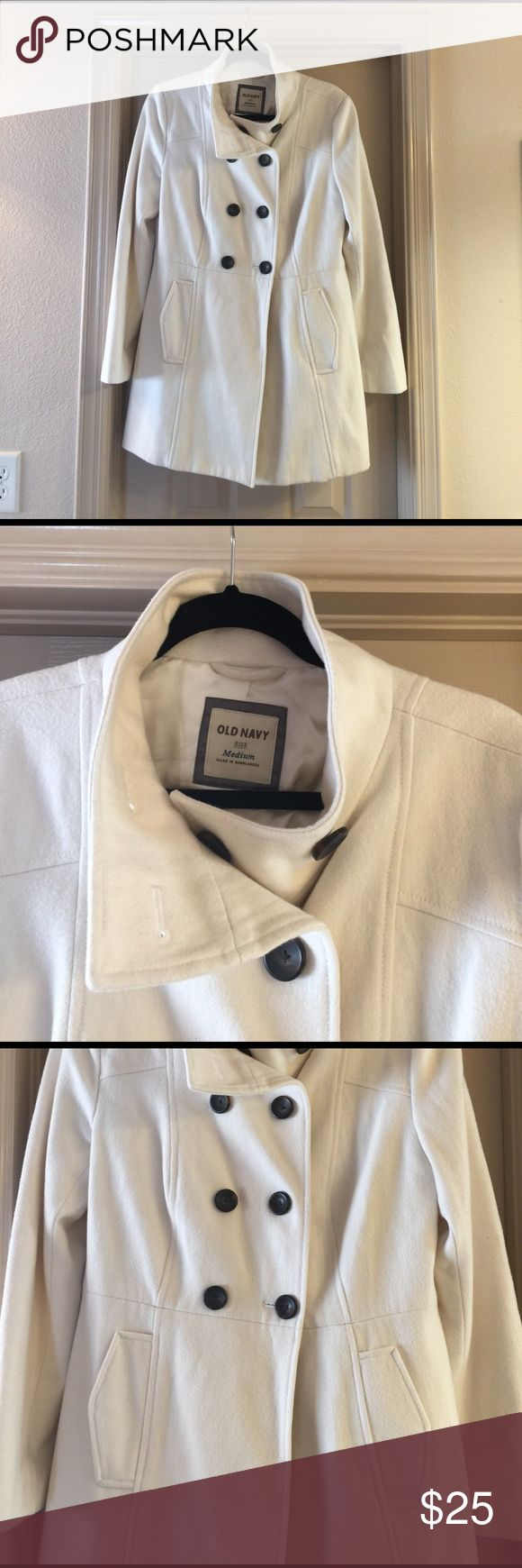 Old Navy Winters White Wool Pea Coat!! Old Navy winter white wool pea coat. Has stand up collar with tortoise shell buttons. Worn only a hand full of times and has no stains!! Old Navy Jackets & Coats Pea Coats