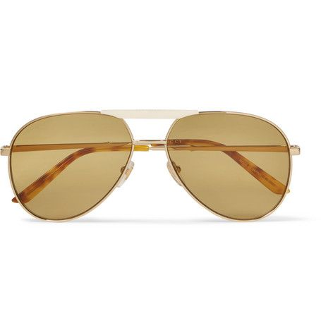 a0b006f92f2 GUCCI ENDURA AVIATOR-STYLE GOLD-TONE AND HORN-EFFECT SUNGLASSES.  gucci