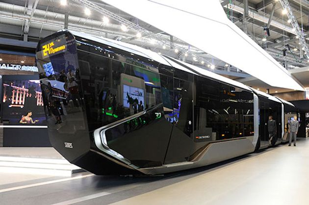 Russia's new tram is a Batmobile on the outside, tech hub on the inside