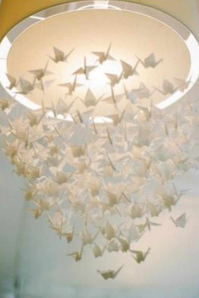 White paper cranes - origami