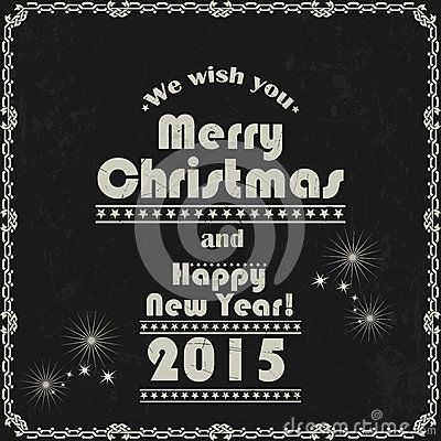 Vintage Merry Christmas and New Year abstract background.