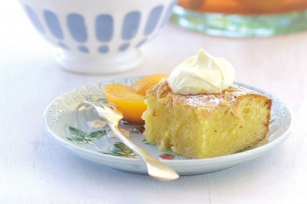 Almond and brandy cake with poached peaches main image