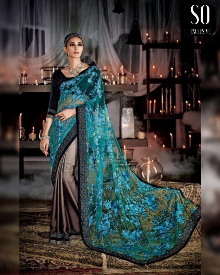 Sari de mariage bleu vert et noir, soyez chic avec ce sari indien