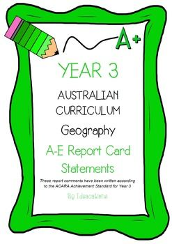 * Now UPDATED to align with V8.1 of the Australian Curriculum*Report card writing has never been easier! Save time and be confident that your comments are well written and designed to align to the Australian Curriculum Achievement Standards. This file contains 70 A - E report card comments for Year 3 Geography.