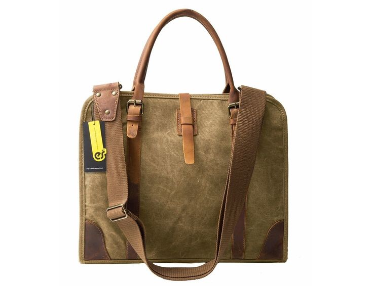 Brown canvas & leather messenger bag for business men and women