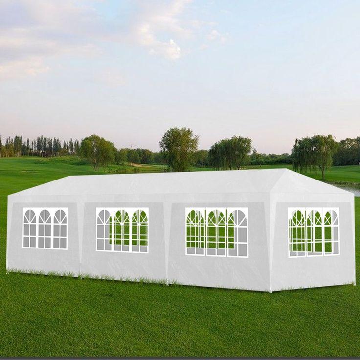 Gazebi da esterno tenda gazebo 8 pareti per feste 3x9 bianco - Giardino, piscina