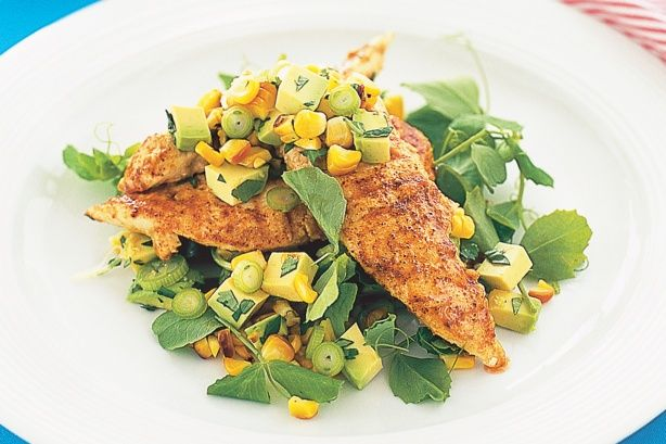 Succulent grilled chicken is a great choice with tangy corn and avocado salsa.