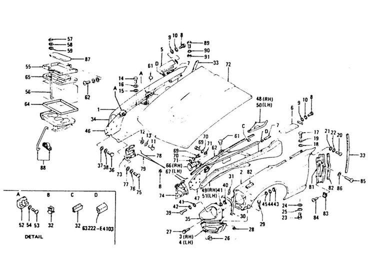 Datsun 240Z Front Fender, Head Lamp Case, Hood Ledge