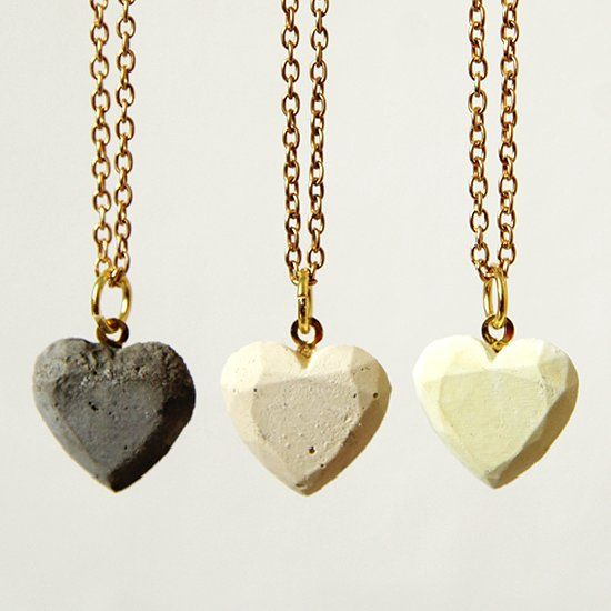 These easy to make, concrete pendants are a great gift for Valentines day.