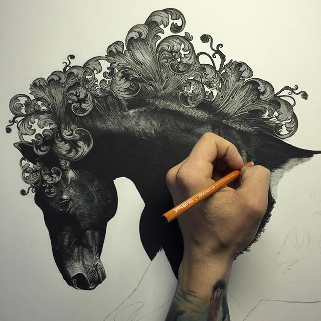 Making some good progress on my latest commission. Lots to go though. Dunked my hand in the charcoal for the shot. Normally I have a piece of tracing paper down to rest my hand on. Thanks for looking! . . . #WIP #charcoal #pencil #charcoalpencil #drawing #charcoaldrawing #pencildrawing #pencilartist #photoreal #photorealism #photorealistic #worldofpencils #horse #filigree