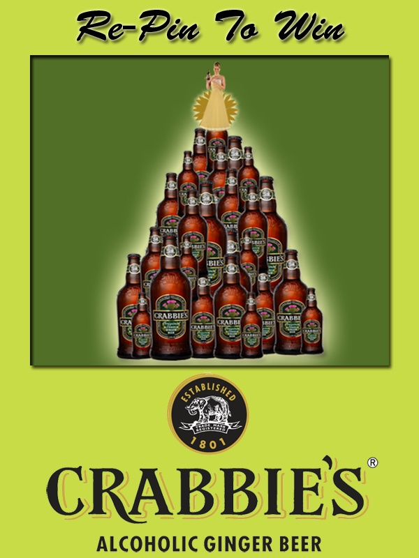 1.	Prize Draw open to UK residents aged 18+. See full T at http://crabbiesrules.tumblr.com/. To enter, re-pin promotional Christmas image from http://pinterest.com/crabbiesuk/.     2.	Two winners, chosen at random from all valid re-pins made up to and including 7:00pm Monday 17th December, will each receive 8 x 330ml bottles of Crabbie's Alcoholic Ginger Beer, subject to availability.    3.	Data will be used in accordance with UK data protection laws.
