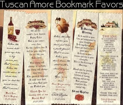 qty 50 Tuscan Amore Italian Wedding Favors Bookmarks by handykane, $34.99