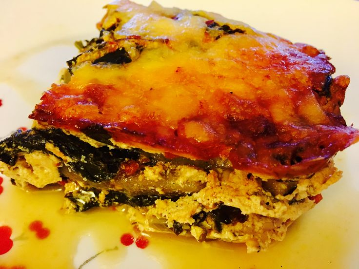 Three tier eggplant lasagna with ricotta cheese