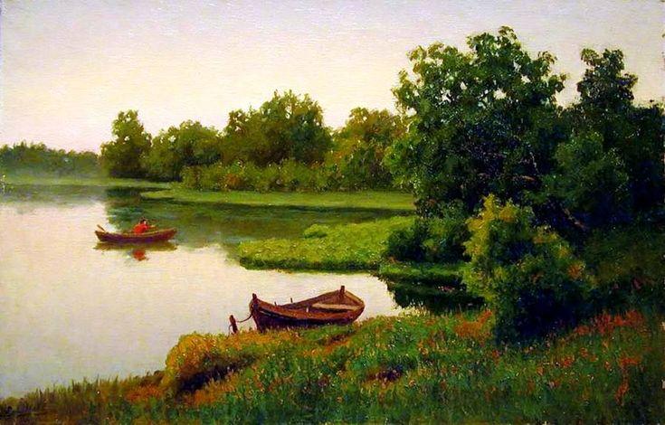 "Efim Volkov      ""Summer Landscape with Fisherman"""