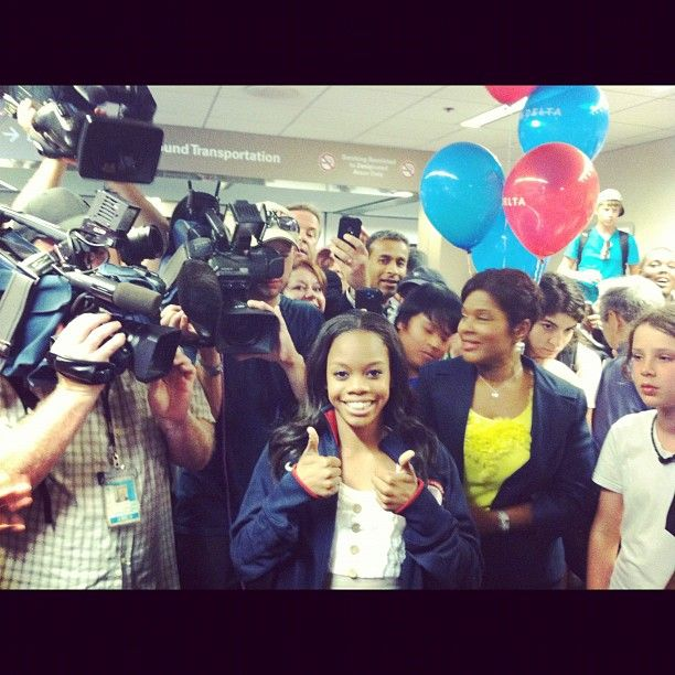Gabrielle Douglas @gabrielledoug  --    Wow a warm welcome from #VABeach Thanks soo much for all your support love you guys!!  --  Photo by gabbydoug2012 • Instagram