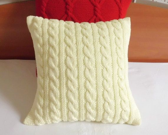 French vanilla cable knit pillow cover cotton by Adorablewares, $36.00