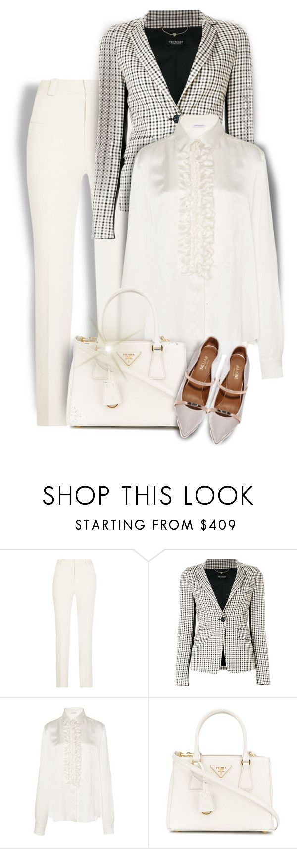 """""""Plaid for the Office"""" by kiki-bi ❤ liked on Polyvore featuring Roland Mouret, Twin-Set, John Galliano, Prada, Malone Souliers, blazer, plaid, suedeshoes and ruffledtops"""