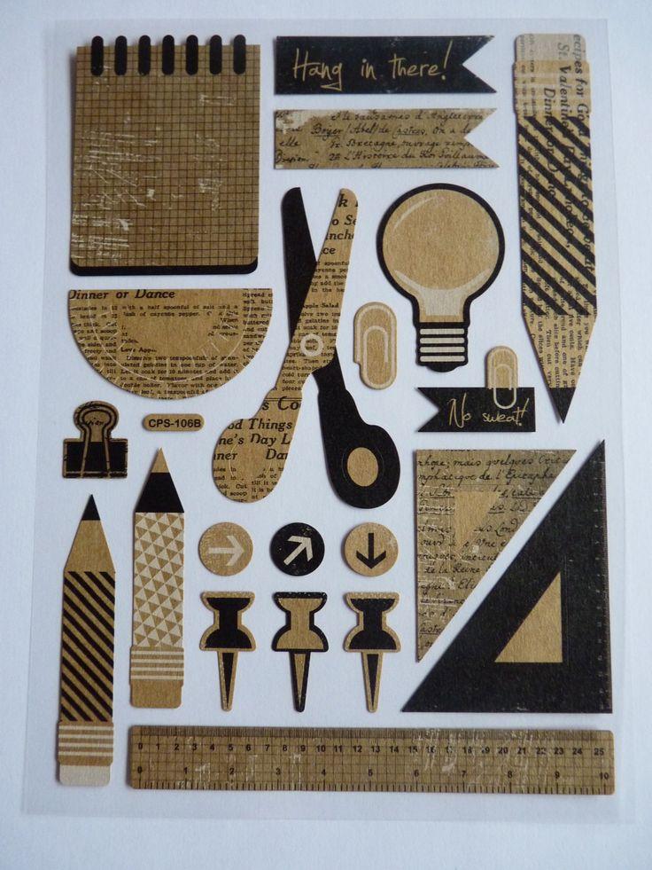 Decoration Rentree Scolaire : Planche de stickers autocollants thème matériel scolaire
