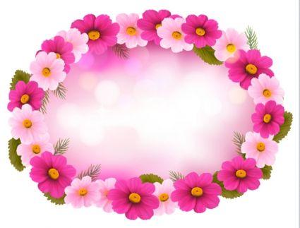 beautiful flower frame vector graphics
