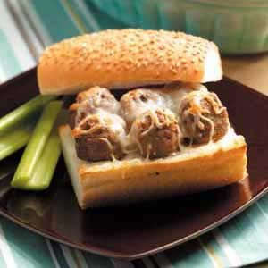 Bavarian Meatballs Slow Cooker Recipe from Taste of Home - perfect as party appetizers or on a sandwich!