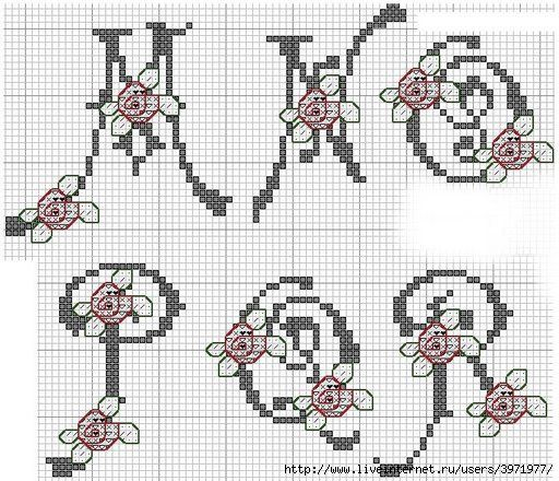 Cross Stitch alphabet with roses M -R
