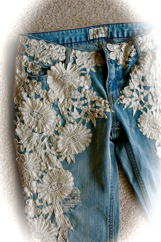 White lace flowers on sides from hips to toes on boyfriend jeans