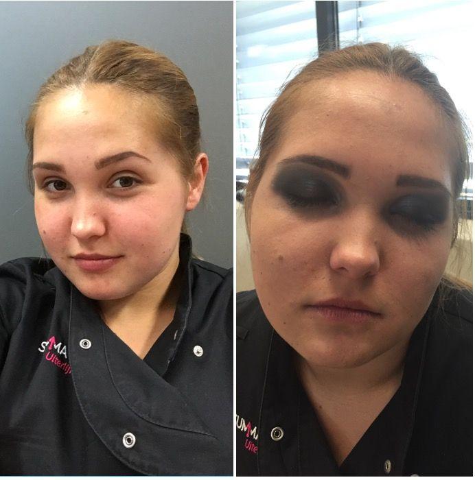 Les 1 Visagie glossy  Smokey eye makeup.