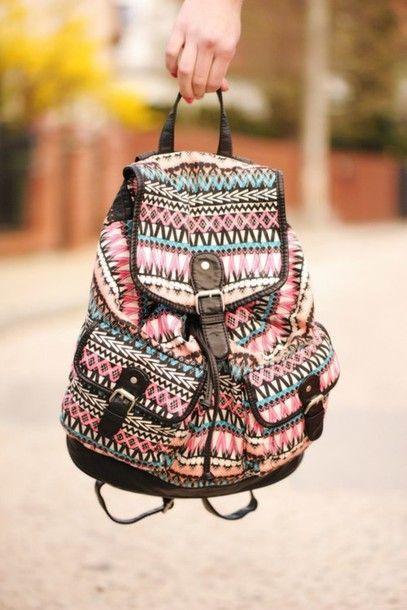 bag bagpack aztec aztec bag rucksack pink blue black colour bags backpack love tribal colourful tribal bag