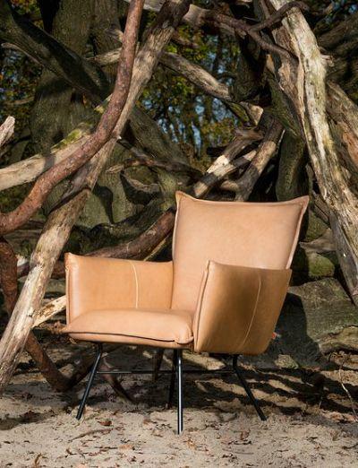 Lederen fauteuil met arm - Metalen onderstel - Verschillende leders - Leather one seater with arm rest - Metal support - Several leathers - #WoonTheater