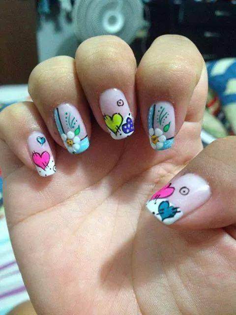 decoracion de uñas naturales cortas con esmalte paso a paso - Buscar con Google