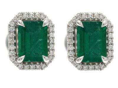 EARRINGS, 18K white gold, emerald cut emeralds 1,82 ctw, 56 brilliant cut diamonds 0,21 ctw, approx W/VS-SI, weight 3,7 g. #emeralds #earrings #jewelry