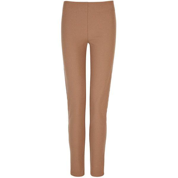 Joseph Gabardine Stretch Legging in CAMEL ($320) ❤ liked on Polyvore featuring pants, leggings, camel, elastic waistband pants, slim fit trousers, gabardine trousers, stretchy leggings and slimming leggings