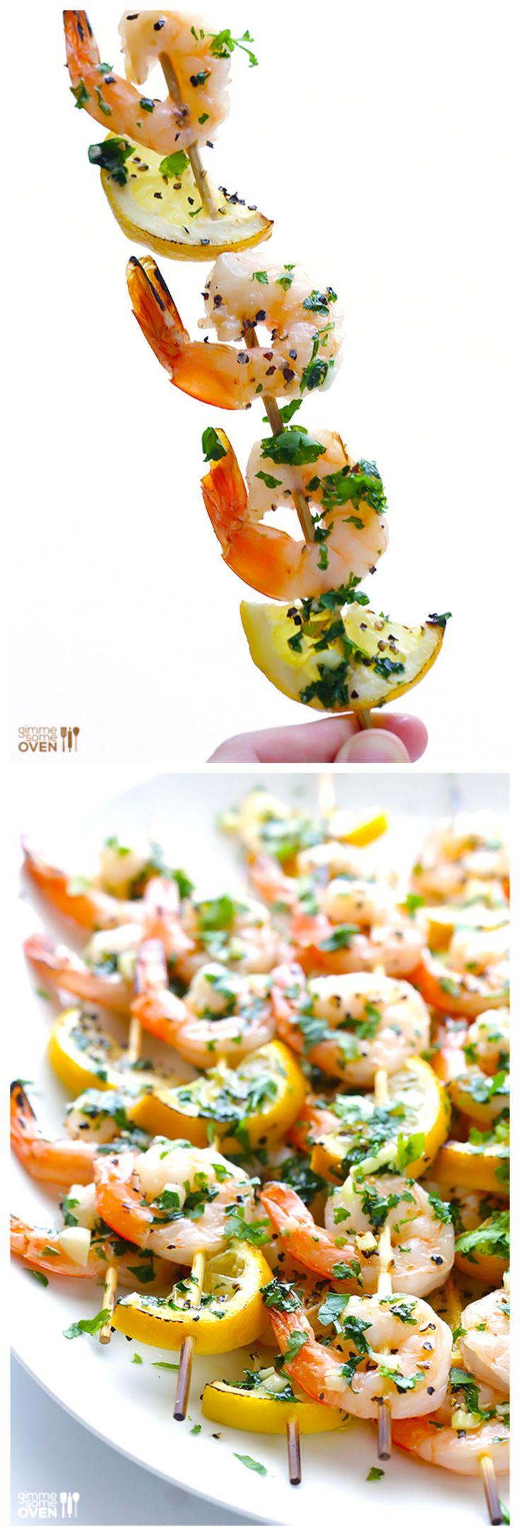 Shrimp Scampi Skewers -- All of the goodness of shrimp scampi, but grilled on skewers!  | gimmesomeoven.com
