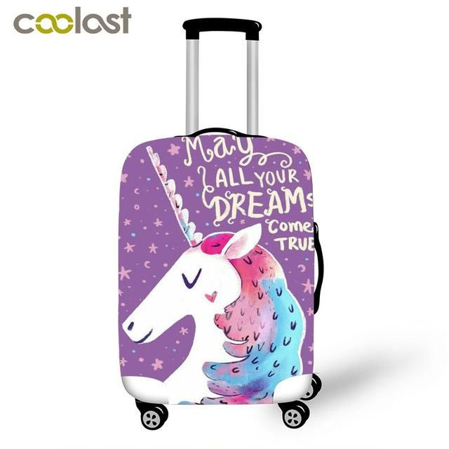 3d Print Unicorn Travel Luggage Cover Thick Protective Suitcase Covers Elastic 18 28 Inch Anti Dust Trolley Case Co Girls Suitcase Suitcase Cover Girls Luggage