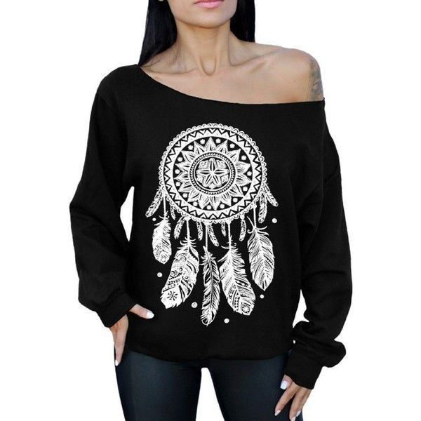 Dream Catcher Off the Shoulder Oversized Sweatshirt White Native... ($22) ❤ liked on Polyvore featuring tops, hoodies, sweatshirts, white sweatshirt, white top, off the shoulder sweatshirt, oversized off the shoulder sweatshirt and off shoulder tops