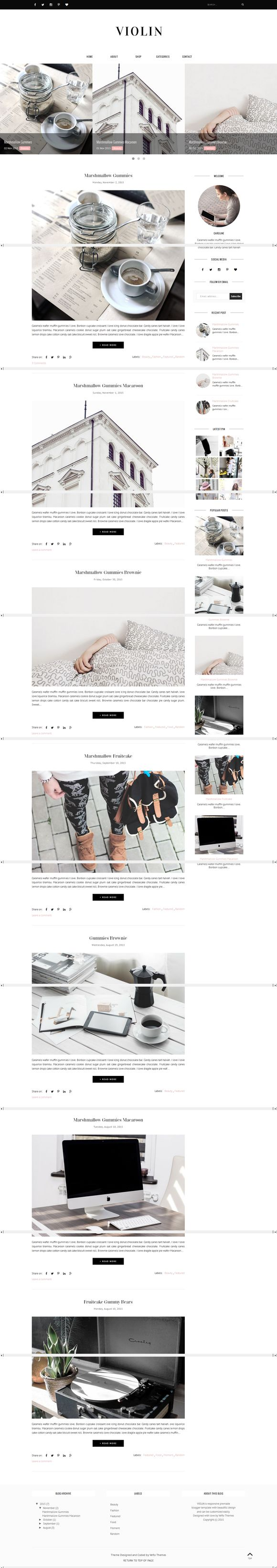 Blogger Template Responsive - Violin by vefiothemes on @creativework247