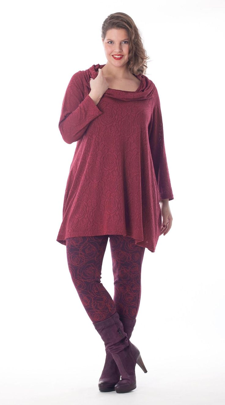 Exelle | curvy fashion | fashionable flared fit tunic with waterfall collar