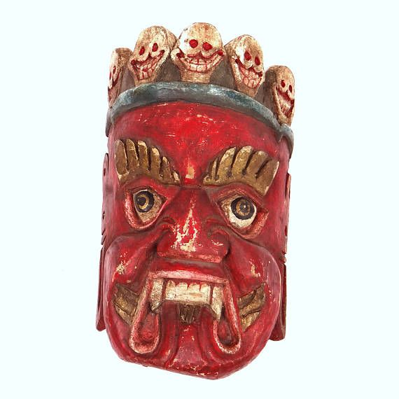 Antique Carved Wooden Mask, Red Demon with Sculls Polychrome Handpainted Protector Mask Wall Decor - Asian Balinese Mythology Home Guard at VintageArtAndCraft