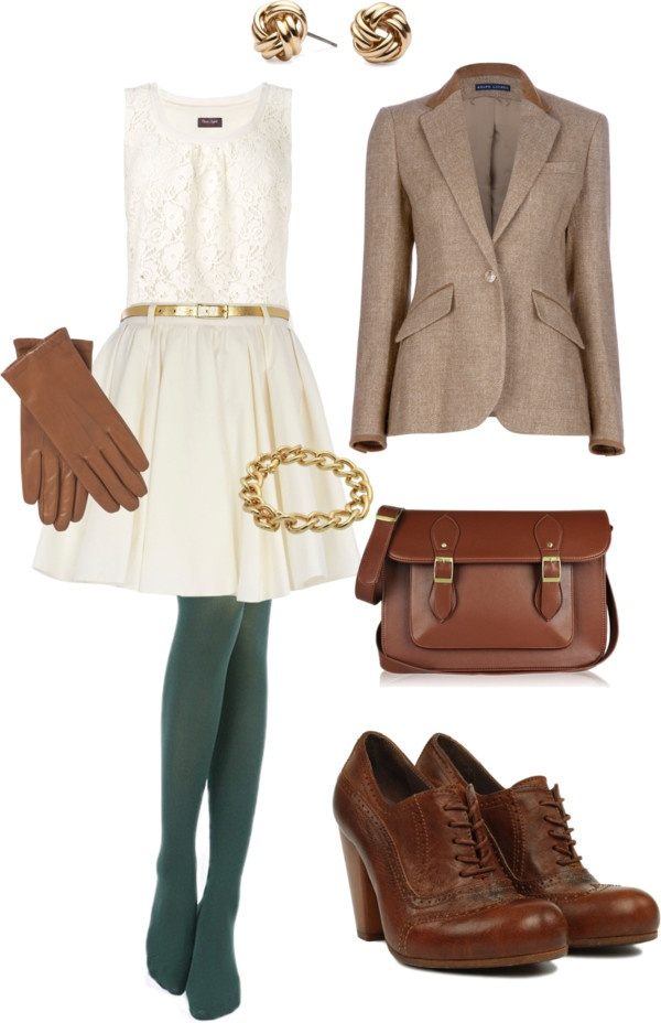 """""""Green Tights"""" by mrsrutledge1810 on Polyvore.... green tights. white dress. tan blazer. leather shoes and accessories."""