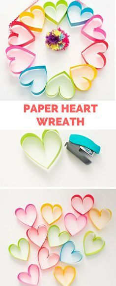 # Valentine's Day - February 14 # DIY Rainbow Paper Heart Pom Pom Wreath. Cute Valentine's Day Craft for Kids Or Mother's Day.