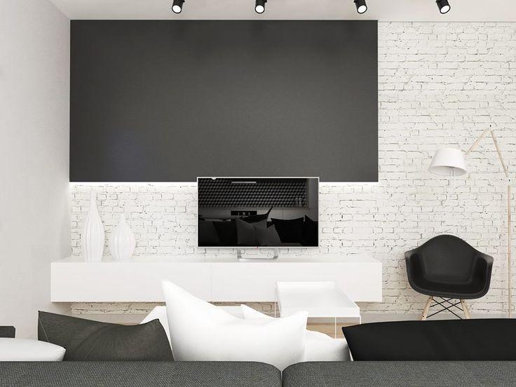 Livingroom modern, white brick  FOORMA