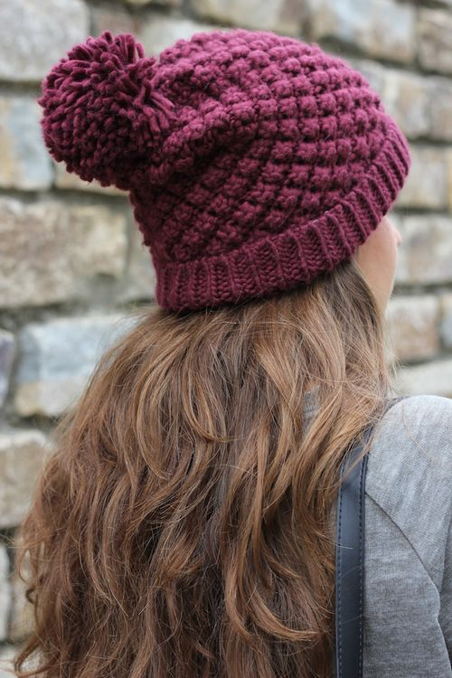 Inspiration for craft.  Super cute hat in a bobble stitch pattern.