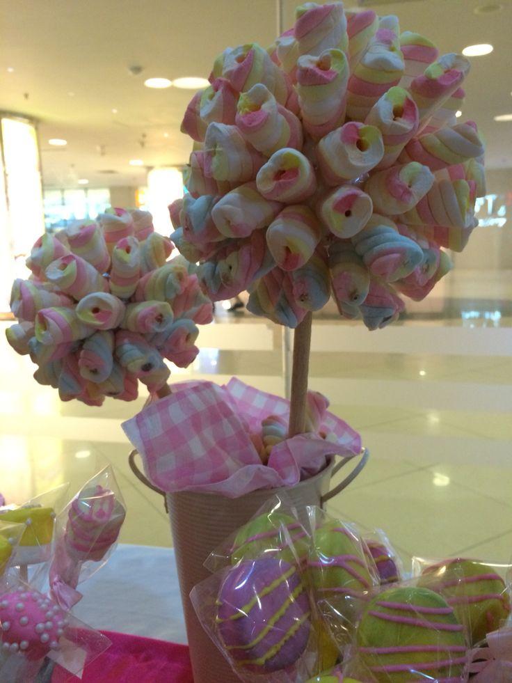 Marsmallow Topiary #desserttable #birthdayparty #kids #girl #marsmallow #topiary