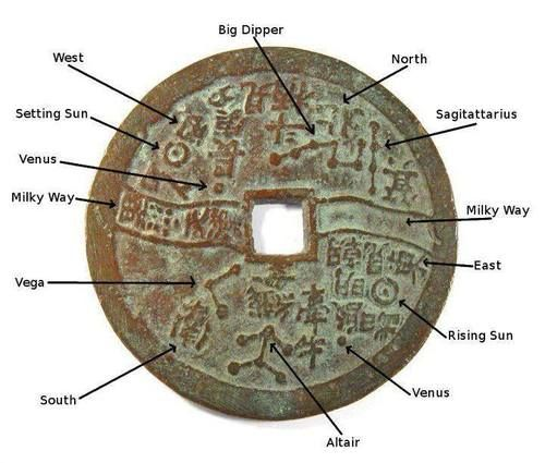 Star map on an ancient Chinese coin. #China