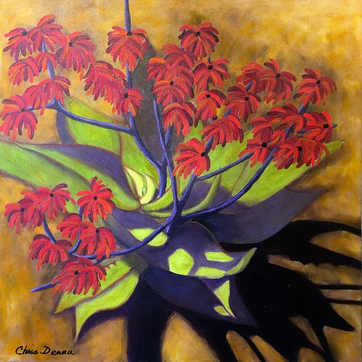 """Rojo Flores  24 x 24"""" oil  available"""