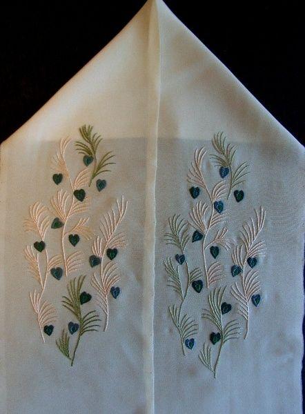 日本刺繍半襟(はんえり) その壱(孔雀の羽)
